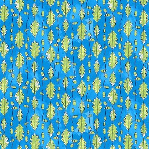Oak Leaves and Acorns Stripes on Blue | Small