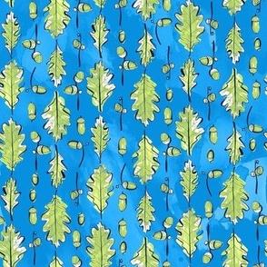 Oak Leaves and Acorns Stripes on Blue | Medium