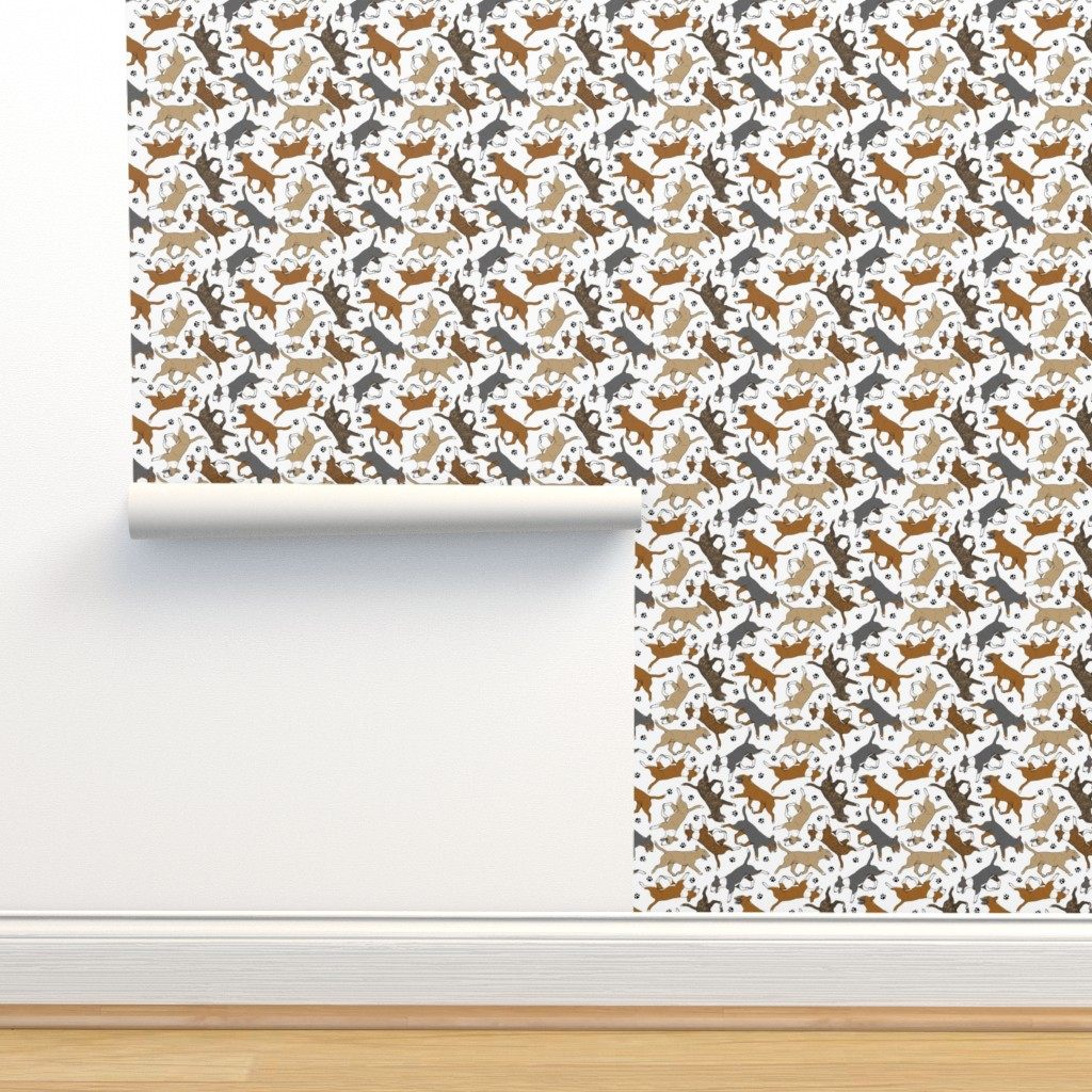 Isobar Durable Wallpaper featuring Trotting Miniature Bull Terriers colored and paw prints - white by rusticcorgi