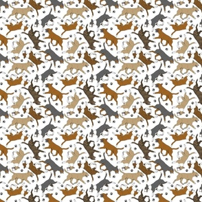 Tiny Trotting Miniature Bull Terriers colored and paw prints - white