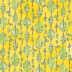 Oak Leaves and Acorns Stripes on Yellow | Medium