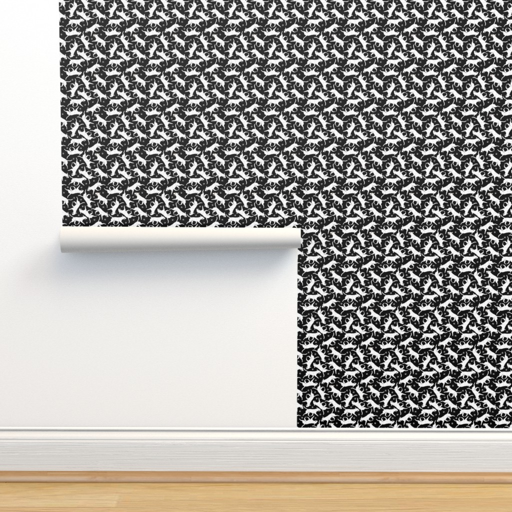 Isobar Durable Wallpaper featuring Trotting Miniature Bull Terriers white and paw prints - tiny black by rusticcorgi