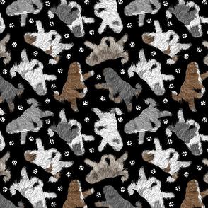 Trotting Polish Lowland Sheepdogs and paw prints B - black