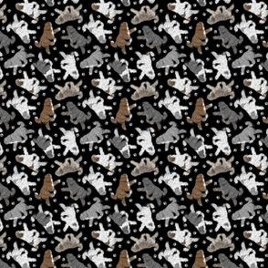 Trotting Polish Lowland Sheepdogs and paw prints B - tiny black
