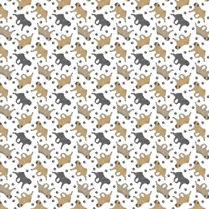 Trotting Pugs and paw prints - tiny white