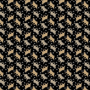 Trotting fawn Pugs and paw prints - tiny black
