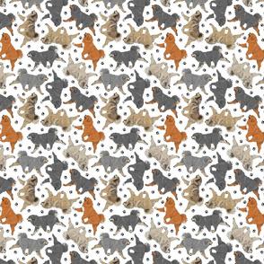 Trotting Tibetan Mastiffs and paw prints - tiny white