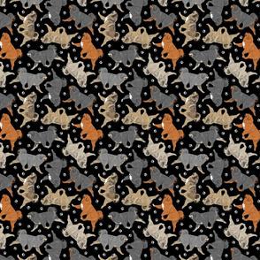 Trotting Tibetan Mastiffs and paw prints - tiny black