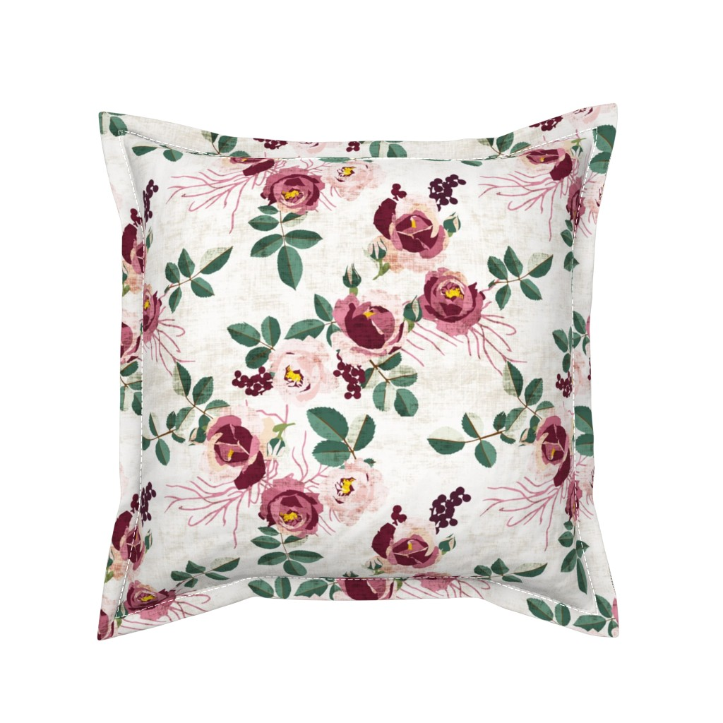 Serama Throw Pillow featuring CYPRUS SUMMER GARDEN LINEN by holli_zollinger
