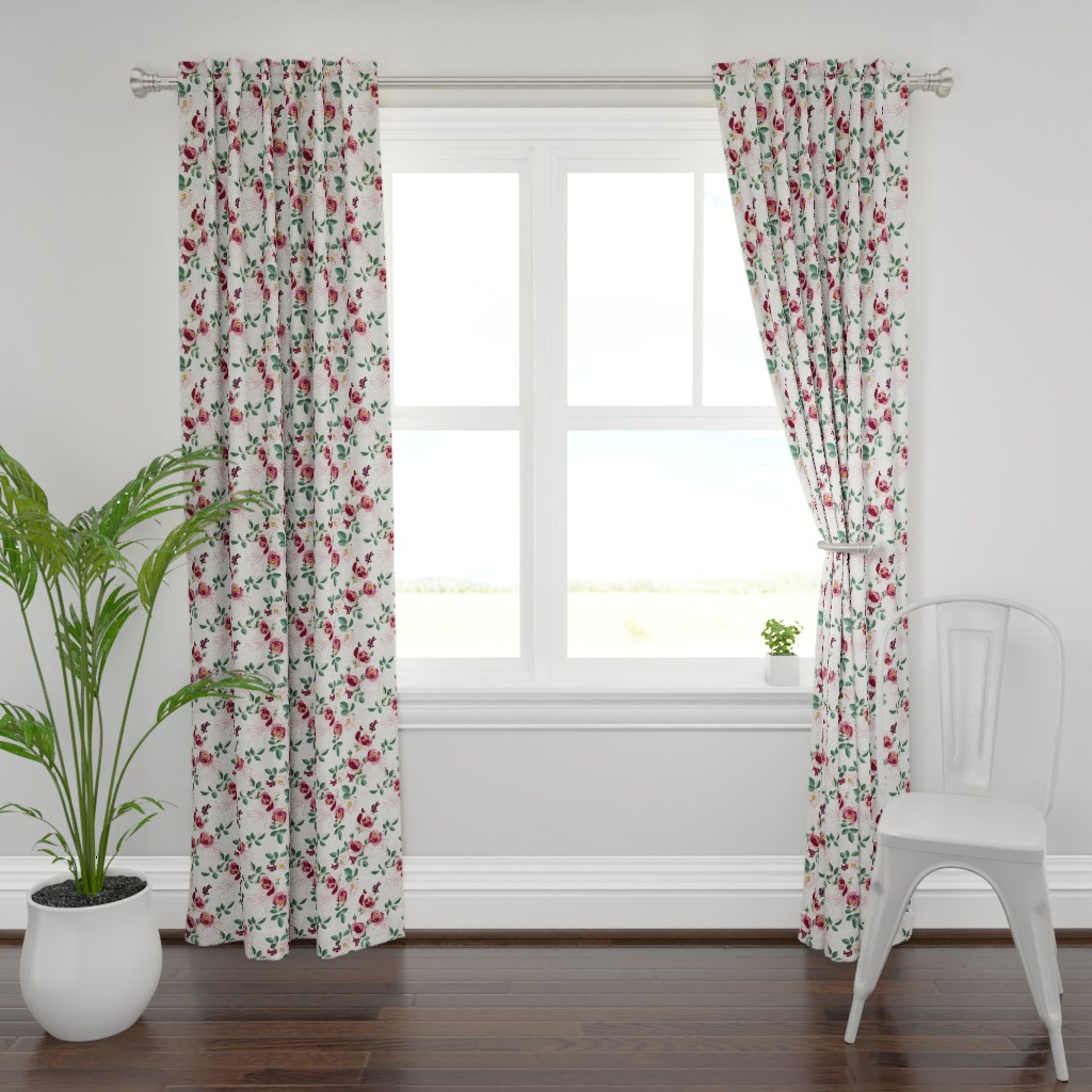 Plymouth Curtain Panel featuring CYPRUS SUMMER GARDEN LINEN by holli_zollinger