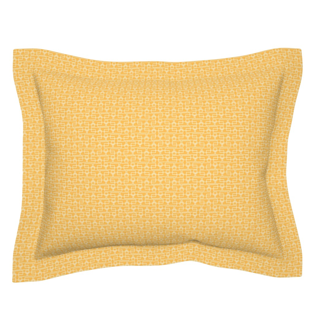 Sebright Pillow Sham featuring orange boxes med by cindylindgren