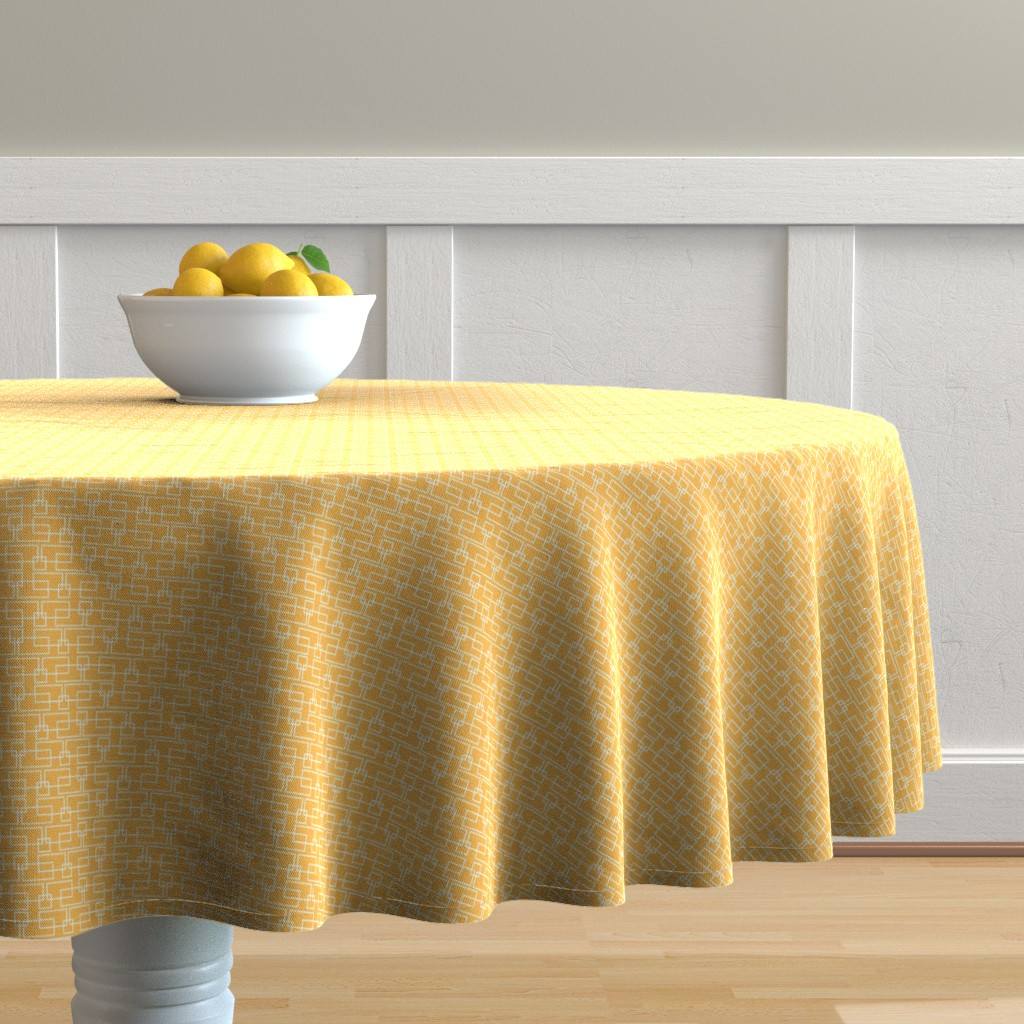 Malay Round Tablecloth featuring orange boxes med by cindylindgren