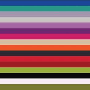 Modern Kilim Stripes - purple, red and green - medium