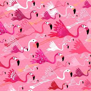 Flying Flamingos - Pink