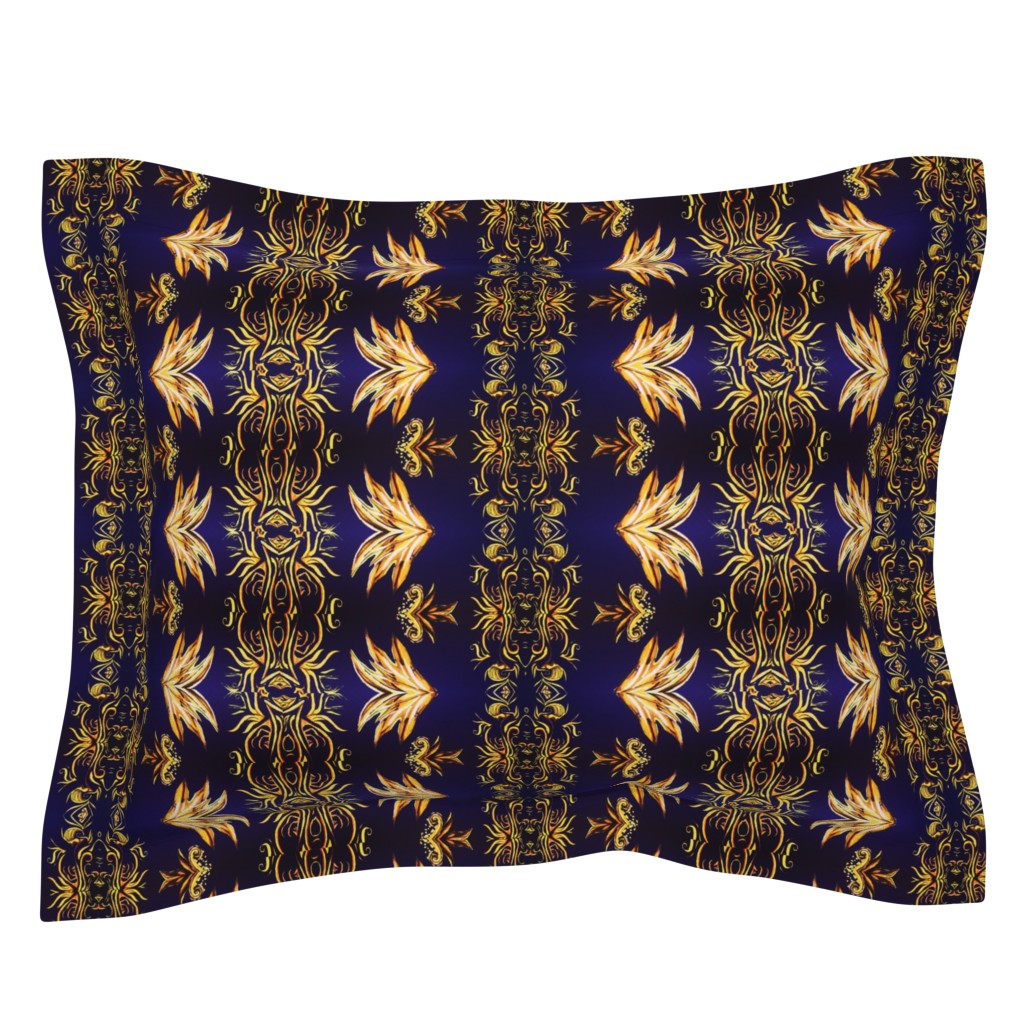 Sebright Pillow Sham featuring NAVY Gold Royal  V. 2 by amaizink_art