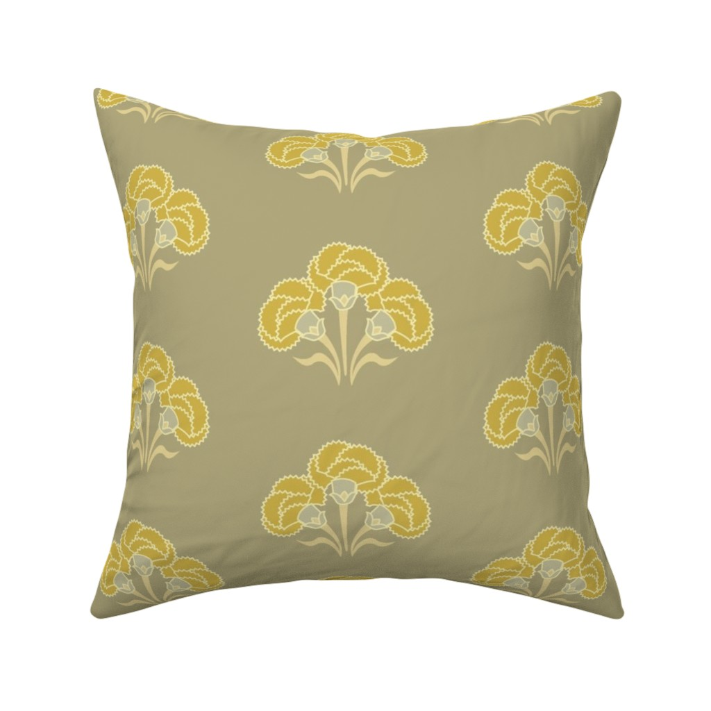 Catalan Throw Pillow featuring Carnation Trio Ochre by cindylindgren