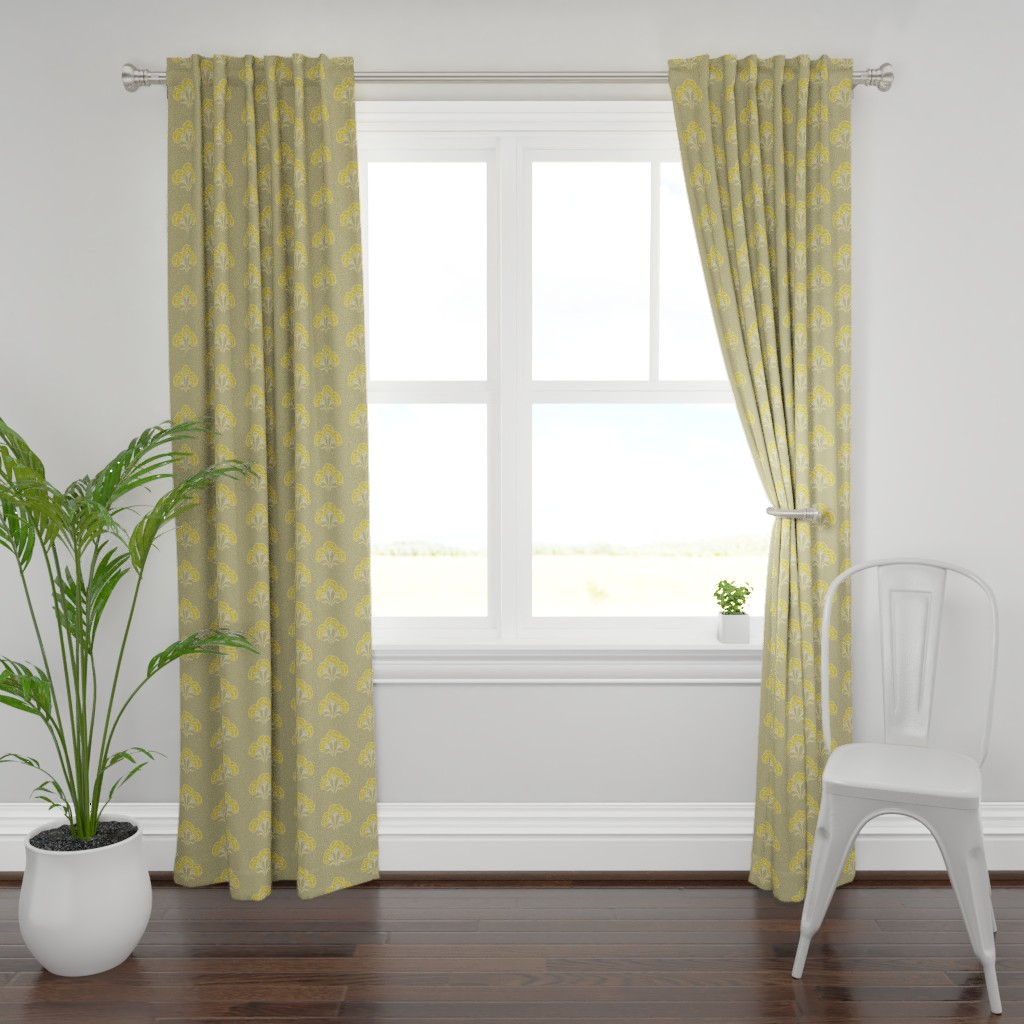 Plymouth Curtain Panel featuring Carnation Trio Ochre by cindylindgren