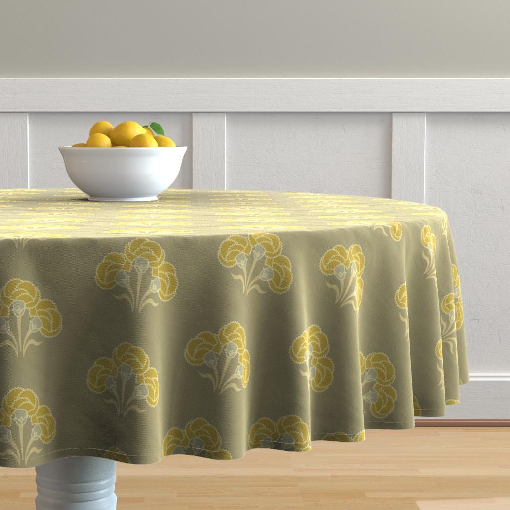Malay Round Tablecloth featuring Carnation Trio Ochre by cindylindgren