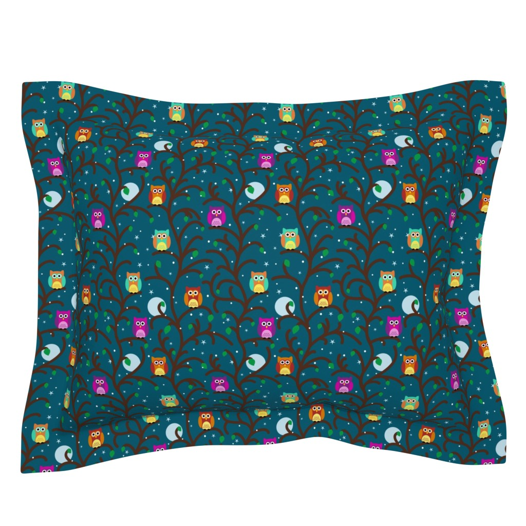 Sebright Pillow Sham featuring Night Owls by vintage_style