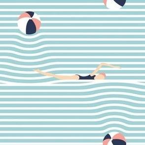 stripy beach balls and babes - aqua