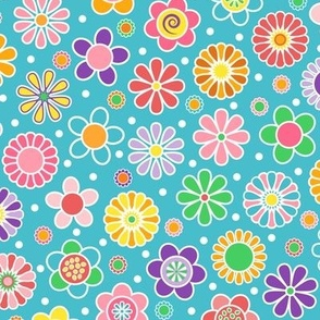 Cute Spring Flowers - Blue Background