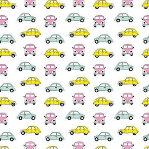 Vintage old timer cars for classic car lovers and travel addicts girls pink yellow XS