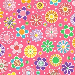 Cute Spring Flowers - Magenta Pink Background