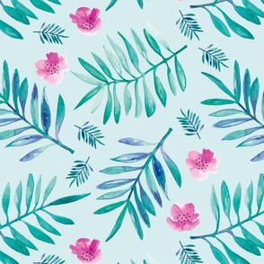 Sweet Hawaii jungle tropical garden theme palm leaves and floral watercolor illustration blue pink