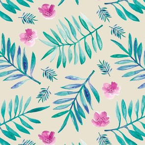 Sweet Hawaii jungle tropical garden theme palm leaves and floral watercolor illustration beige green pink