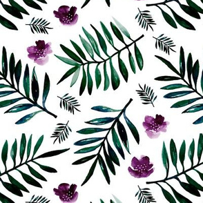 Sweet Hawaii jungle tropical garden theme palm leaves and floral watercolor illustration monochrome green purple