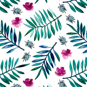 Sweet Hawaii jungle tropical garden theme palm leaves and floral watercolor illustration monochrome blue pink