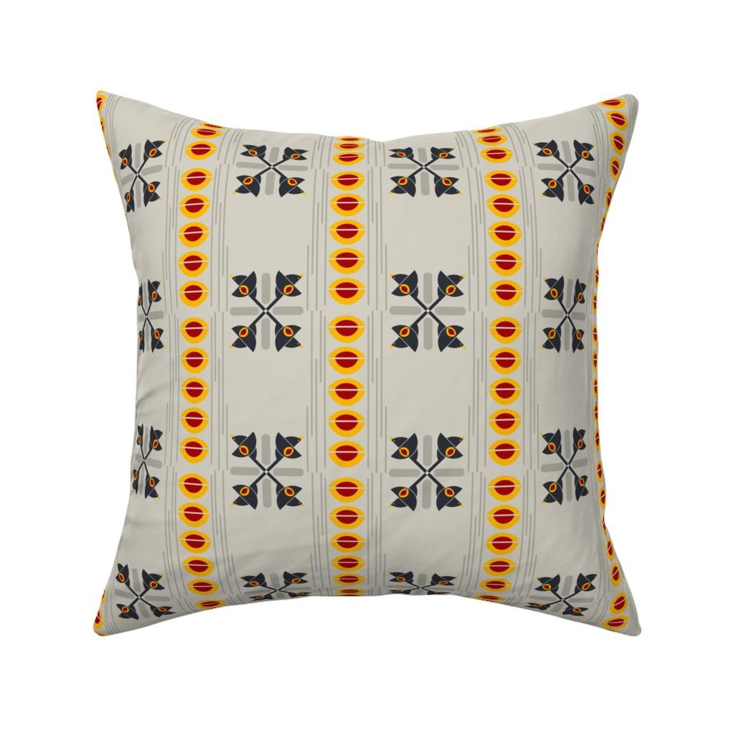 Catalan Throw Pillow featuring Flight of the Bauhaus Blackbird Crosses on Greige by agregorydesigns
