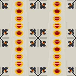 Flight of the Bauhaus Blackbird Crosses on Greige