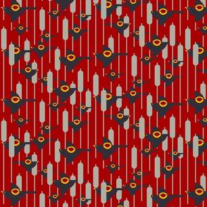 Flight of the Bauhaus Blackbirds on Red