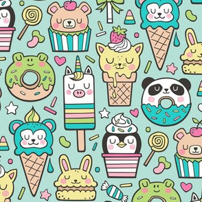 Animals Sweets Candy Ice Cream & Donuts on Mint Green