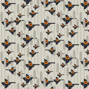 Flight of the Bauhaus Blackbirds on greige