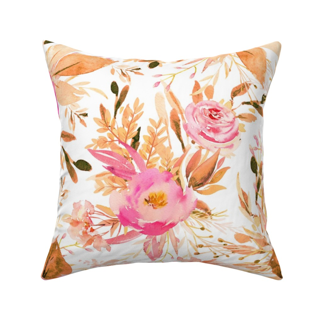 """Catalan Throw Pillow featuring 36"""" Faded Pink Meadow Florals by shopcabin"""