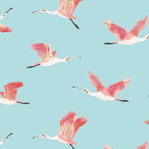 Flying Roseate Spoonbills