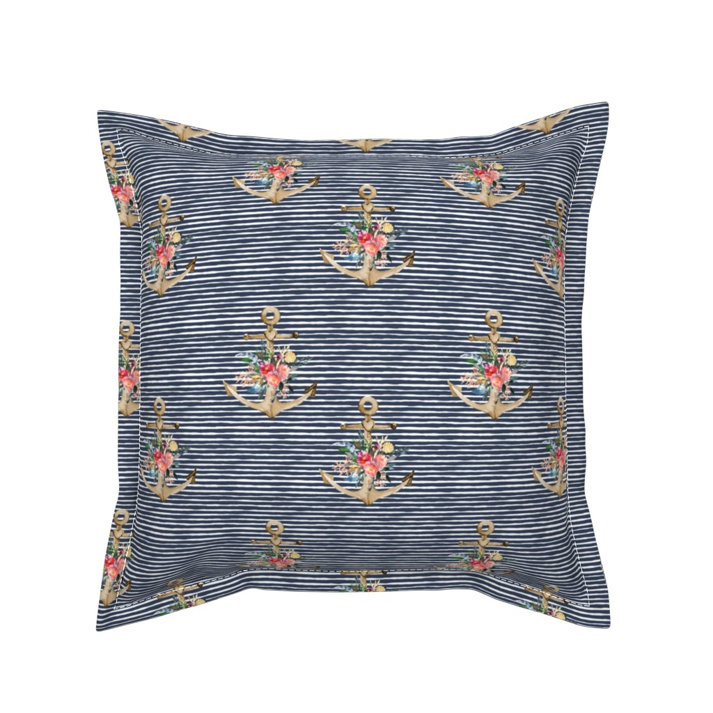 "Serama Throw Pillow featuring 7"" Floral Anchor Thick Blue Stripes by shopcabin"