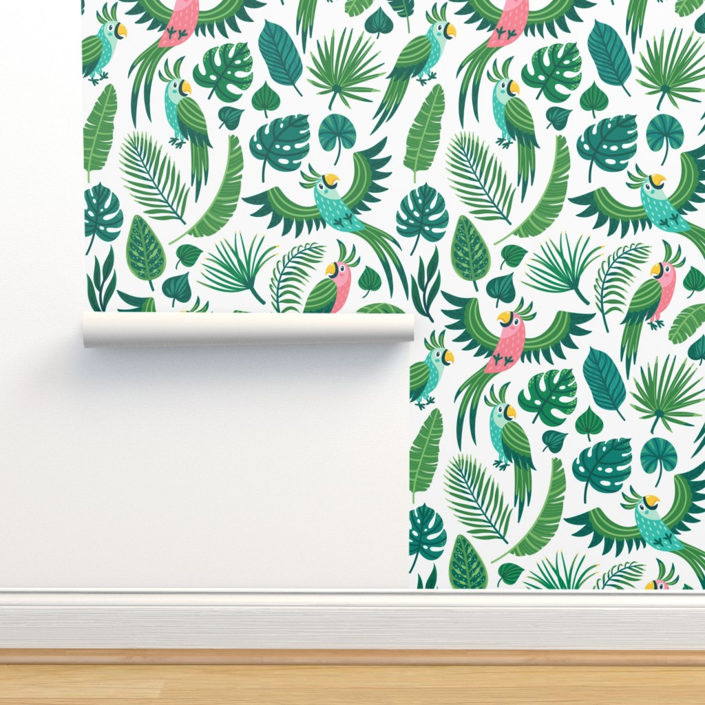 Isobar Durable Wallpaper featuring Parrots in the jungle. Medium scale by magicforestory