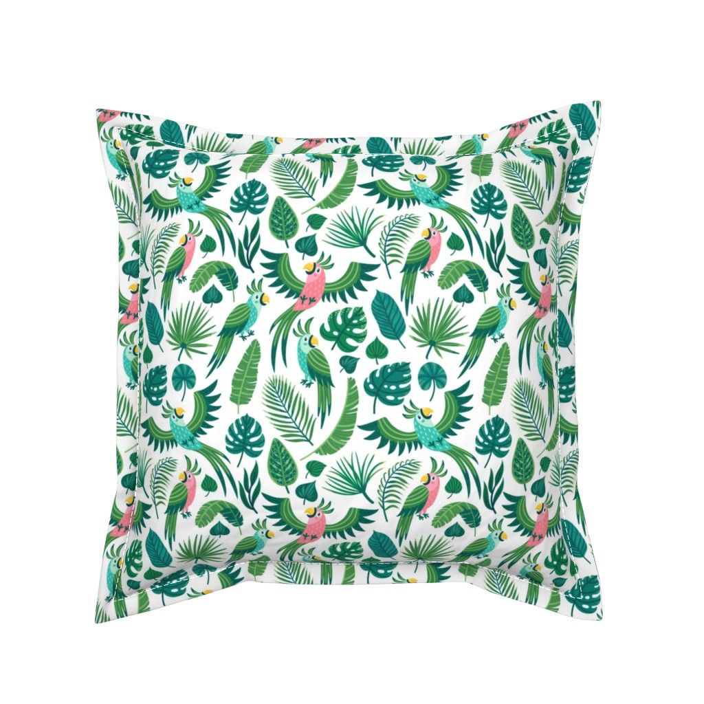 Serama Throw Pillow featuring Parrots in the jungle. Medium scale by magicforestory