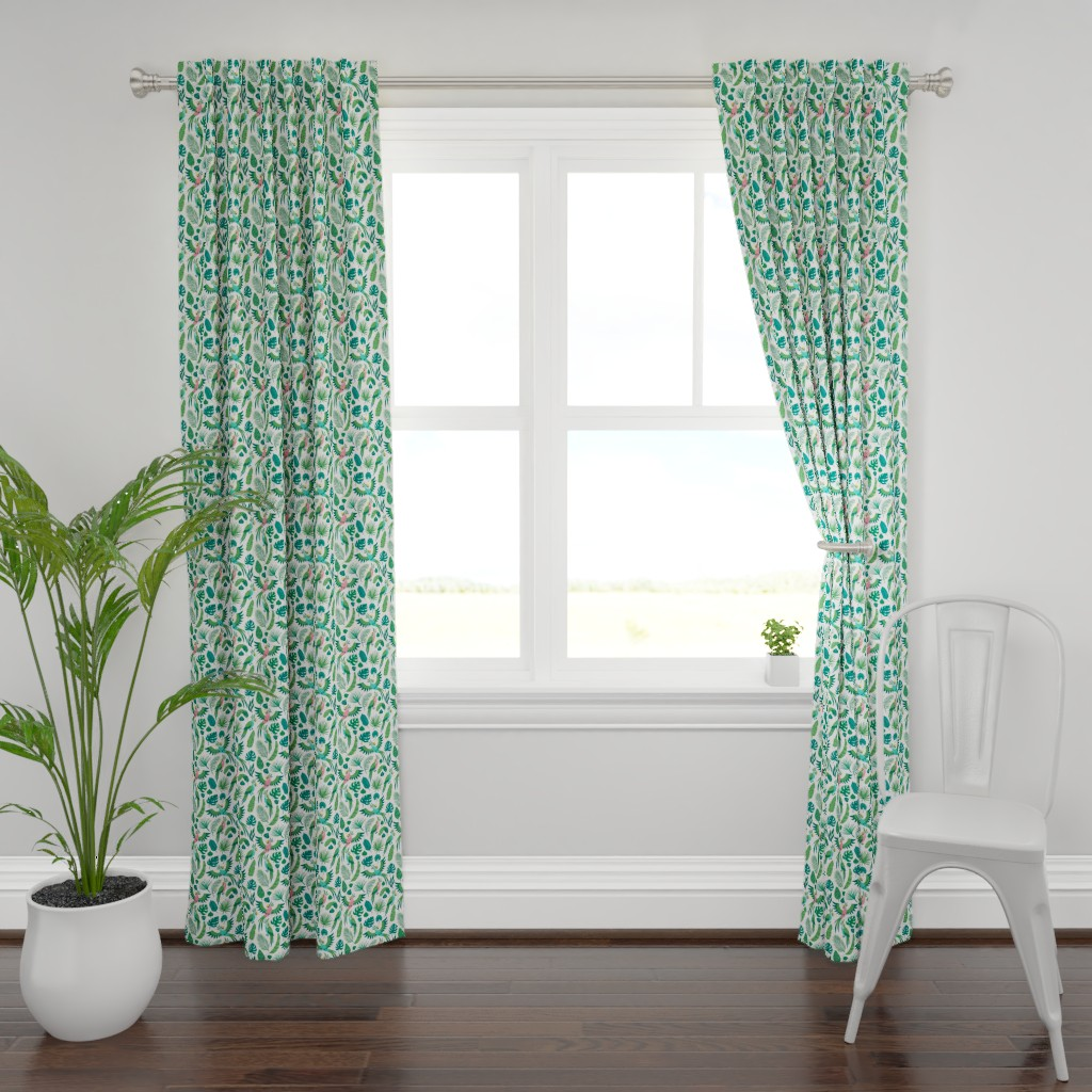 Plymouth Curtain Panel featuring Parrots in the jungle. Medium scale by magicforestory