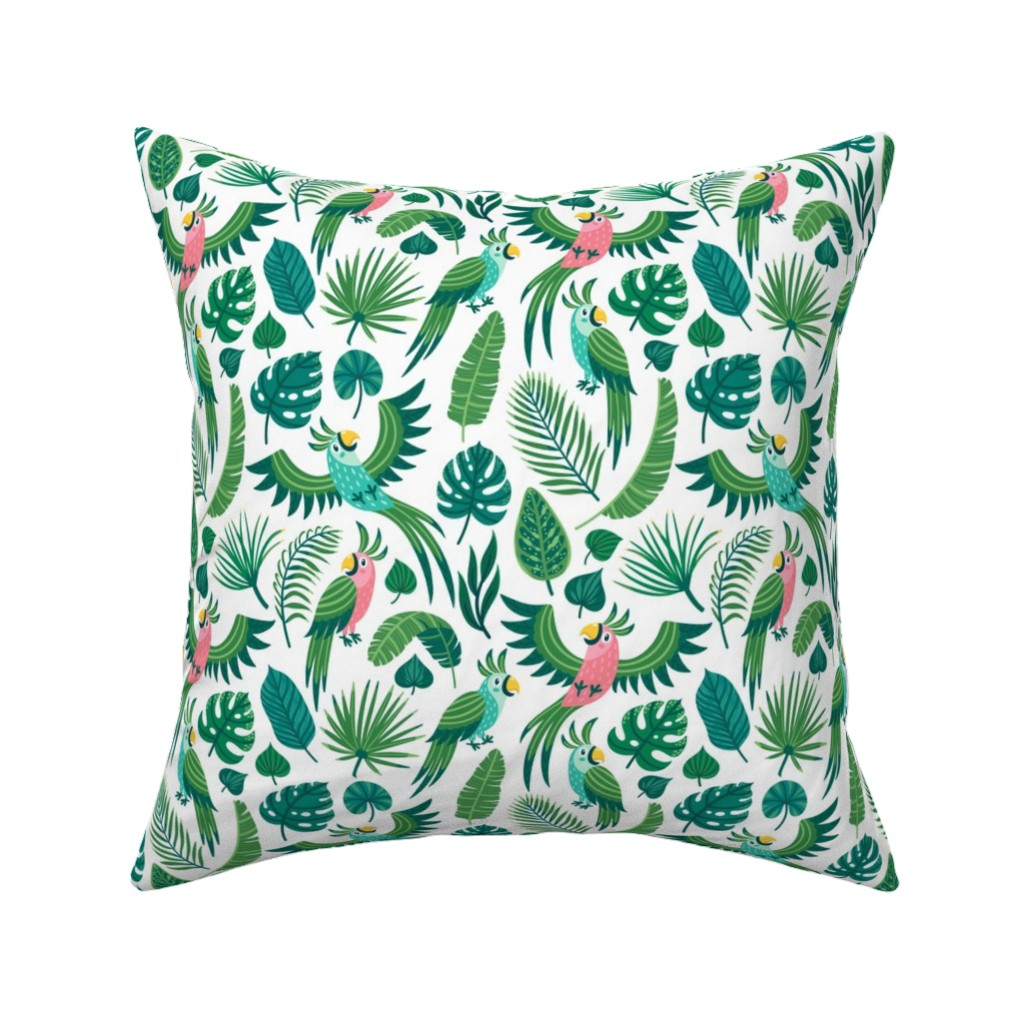 Catalan Throw Pillow featuring Parrots in the jungle. Medium scale by magicforestory