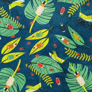 Insects toss in dark blue - large