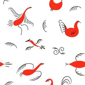 Six red birds  pattern. National scandinavian paintings. Folk handicrafts. Enchanting original Simplicity.