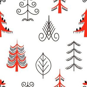 Six red trees seamless pattern. National scandinavian paintings. Folk handicrafts. Enchanting original ornaments. Simplicity. flat