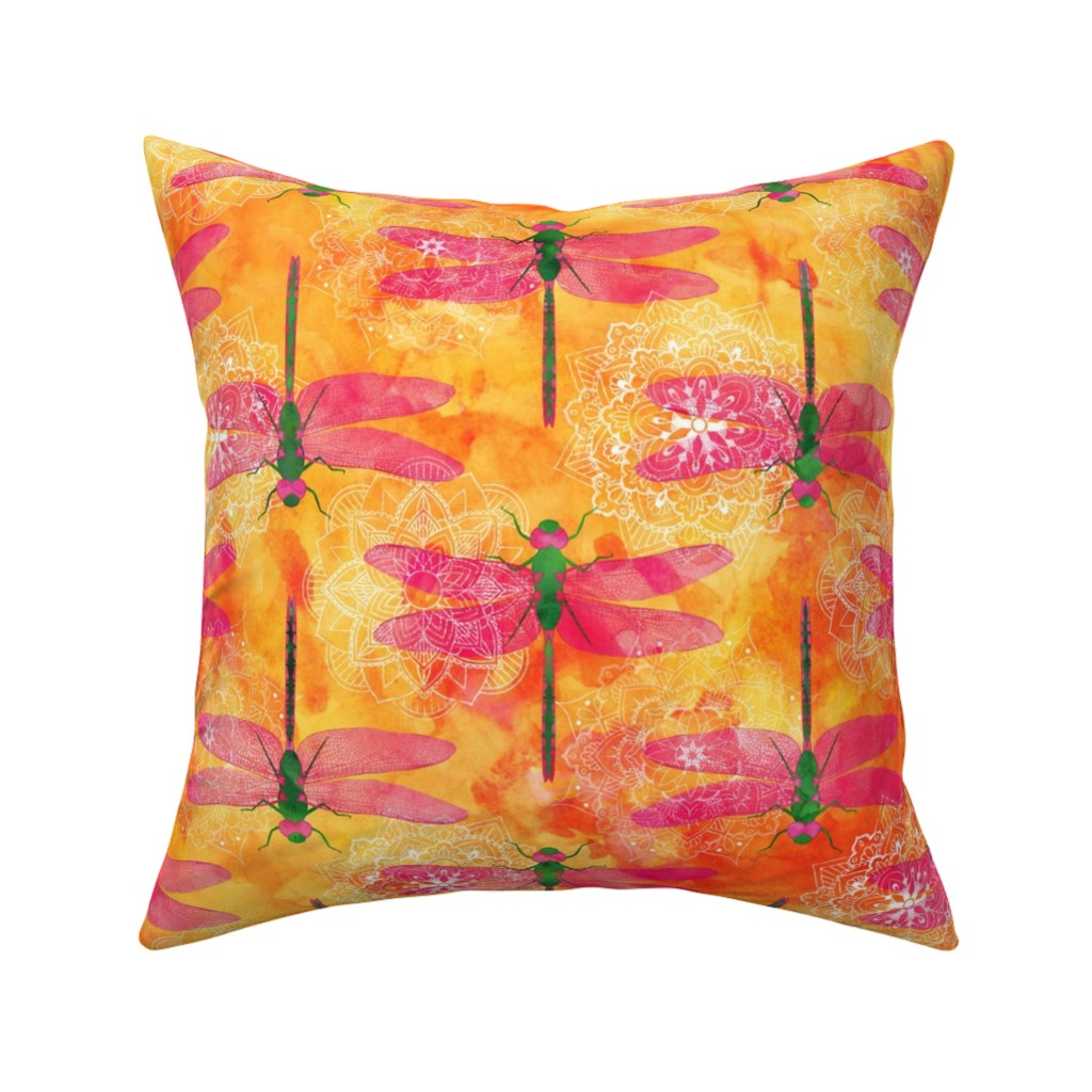 Catalan Throw Pillow featuring Watercolor Dragonfly Mandala by wickedrefined