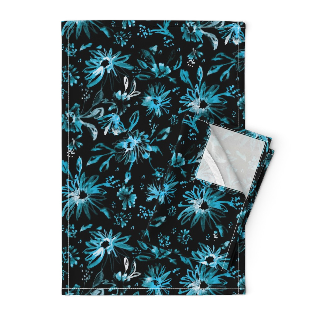 Orpington Tea Towels featuring Lovely floral black and turquiose by schatzibrown
