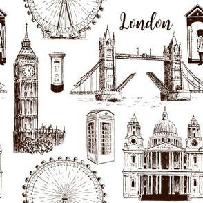 London architectural symbols sketch pattern sketch. Big Ben, Tower Bridge, red bus, mail box, call box, guardsman
