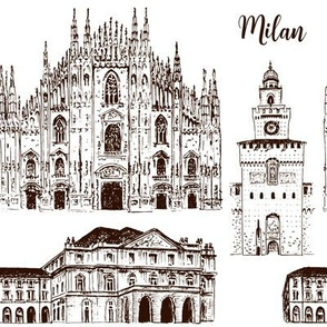 Milan symbols. Duomo di Milano, Teatro alla Scala, Sforza Castle or Castello Sforzesco